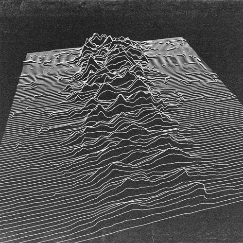 A revisualization of the pulsar data used on the cover of Joy Division's Unknown Pleasures, projected isomorphically