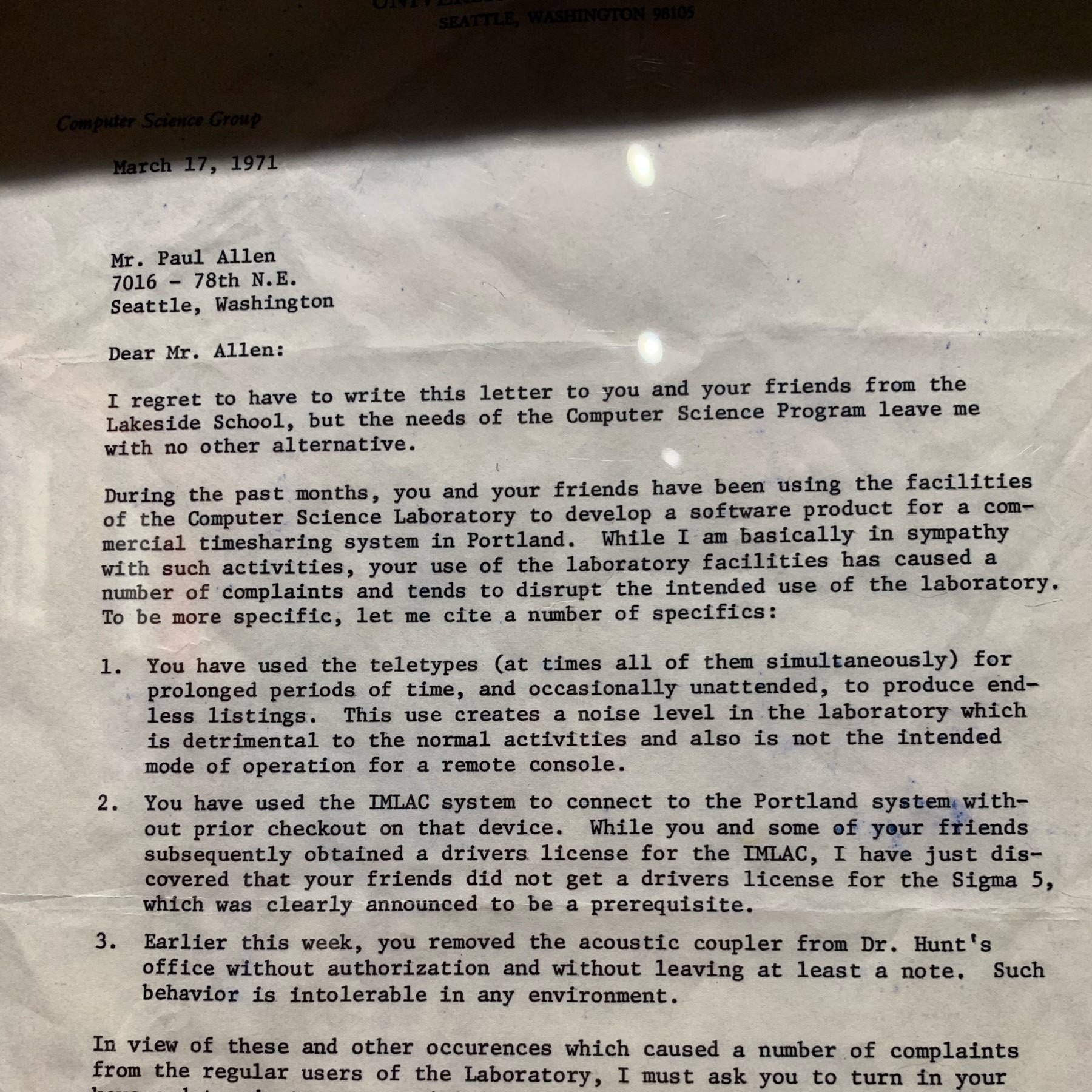 letter notifying Paul Allen and cronies they have been kicked off the time sharing sytem