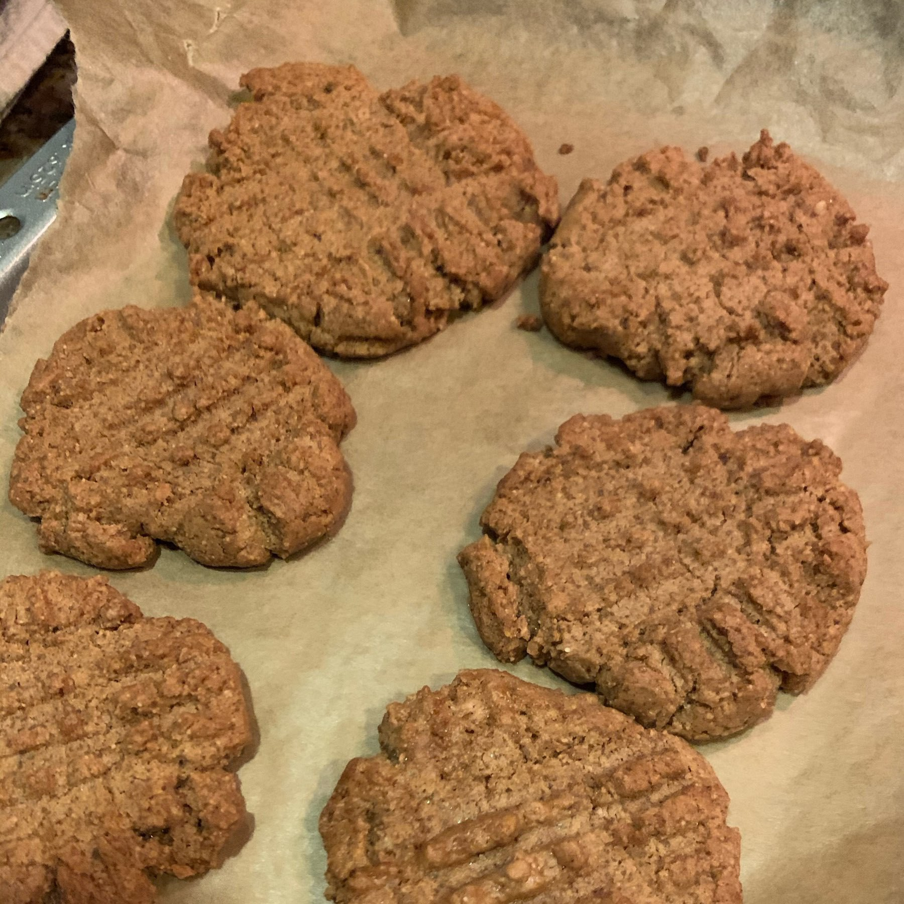peanut butter cookies cooling on a sheet